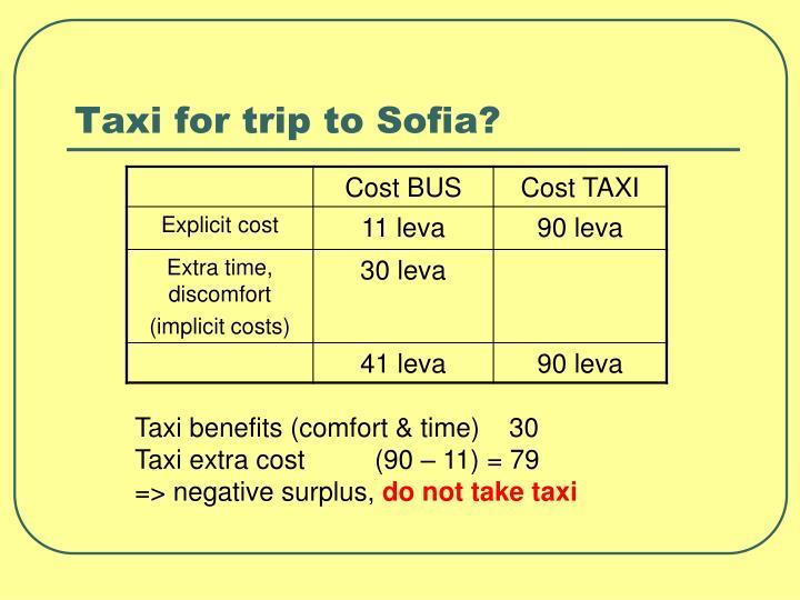Taxi for trip to Sofia?