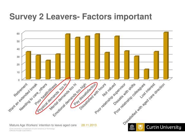 Survey 2 Leavers- Factors important