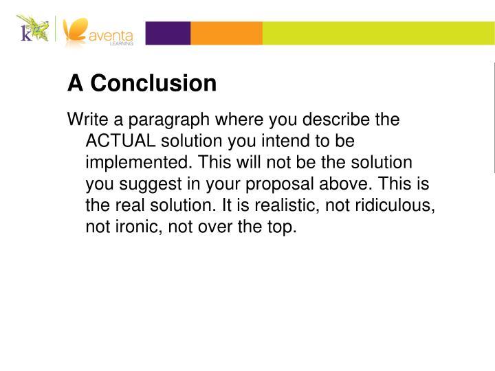 A Conclusion