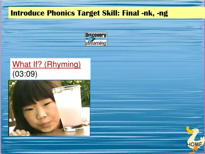 Introduce Phonics Target Skill: Final -
