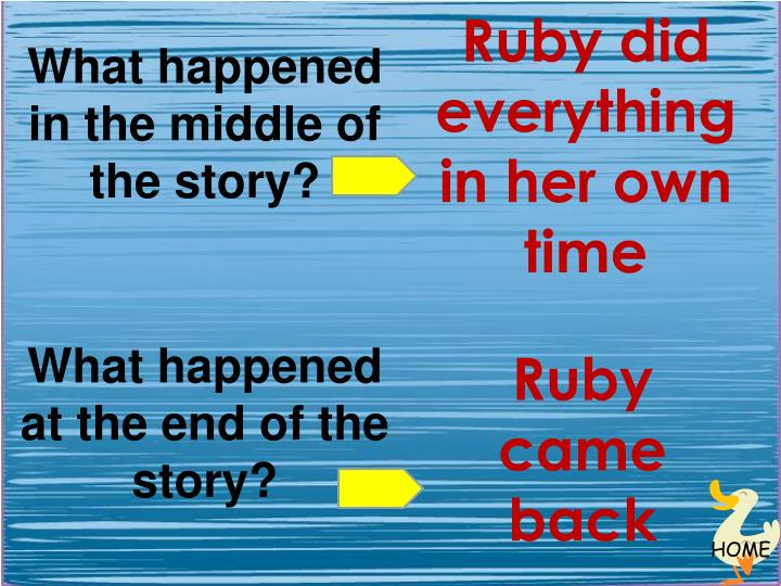 Ruby did everything in her own time