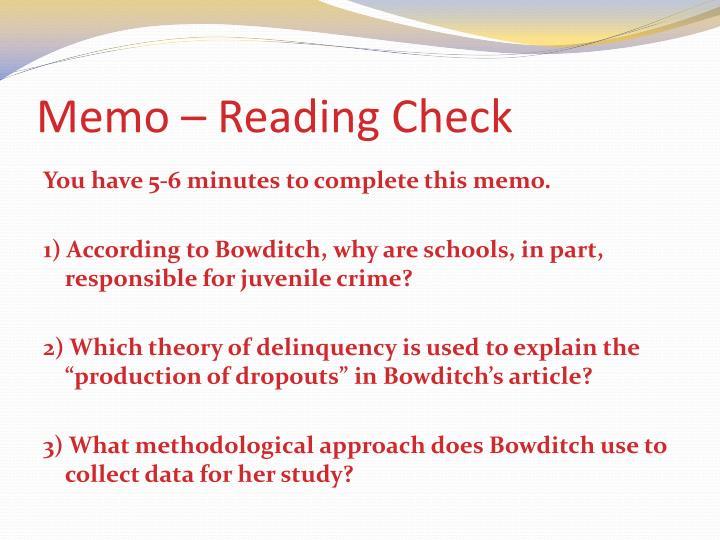 Memo – Reading Check
