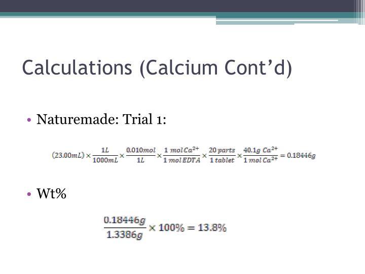 Calculations (Calcium Cont'd)