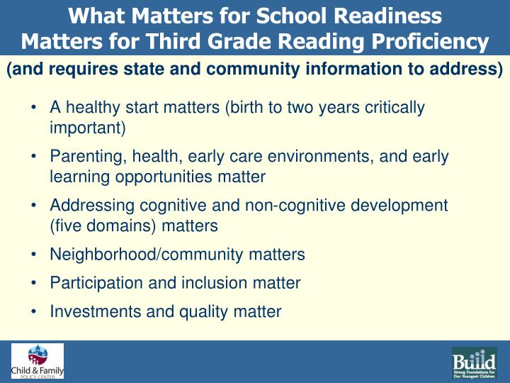 What Matters for School Readiness