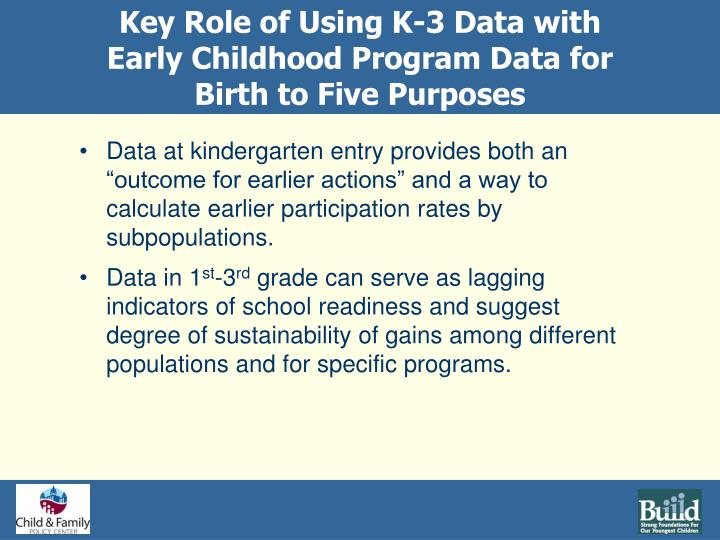 Key Role of Using K-3 Data with