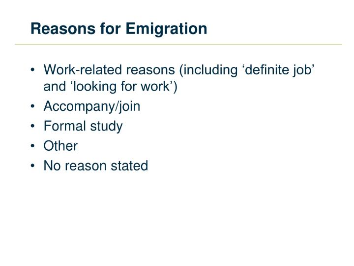 Reasons for Emigration