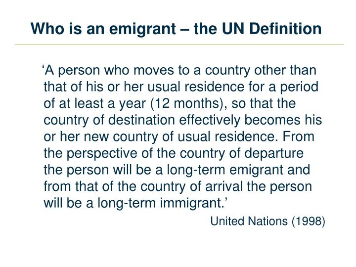 Who is an emigrant – the UN Definition