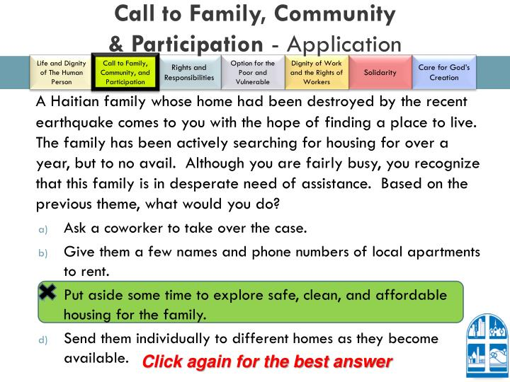 Call to Family, Community