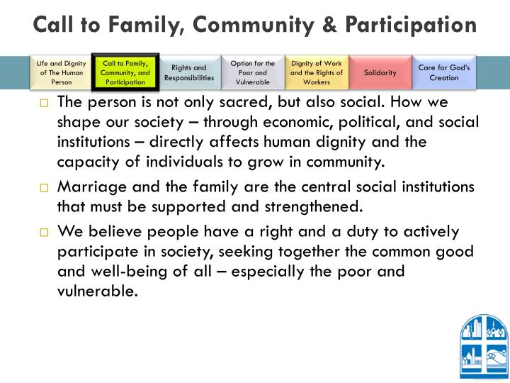 Call to Family, Community & Participation