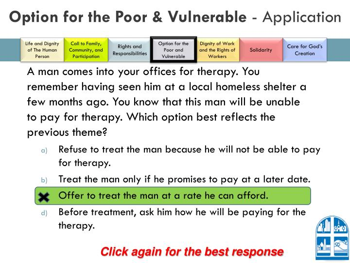 Option for the Poor & Vulnerable