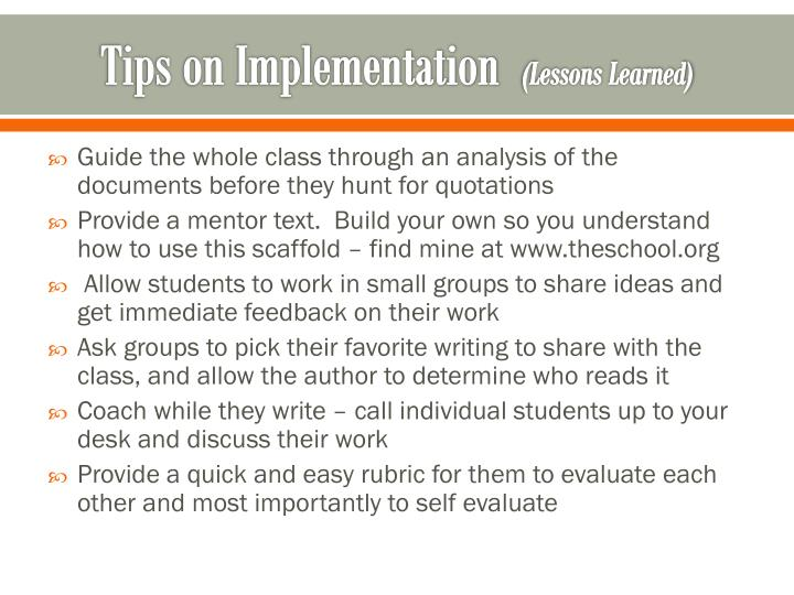 Tips on Implementation