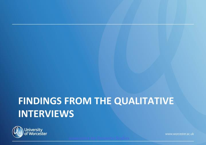 Findings from the Qualitative Interviews