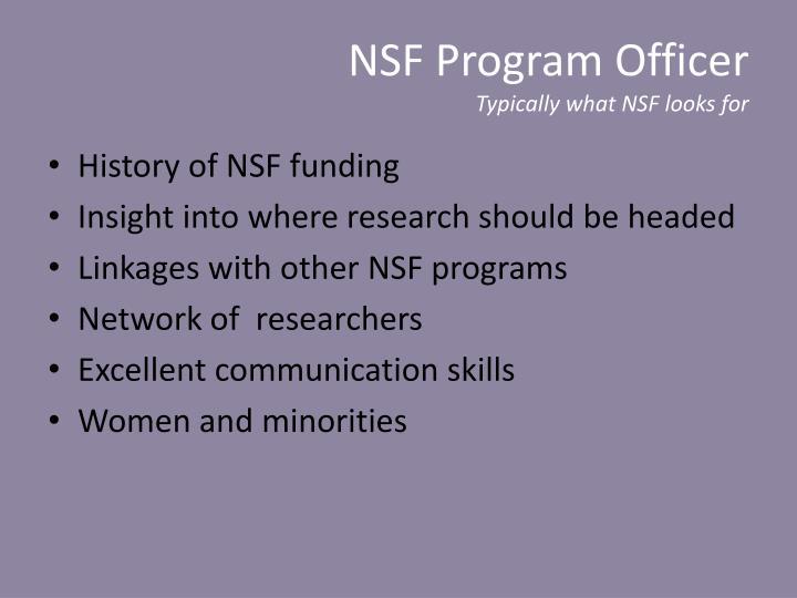 NSF Program Officer
