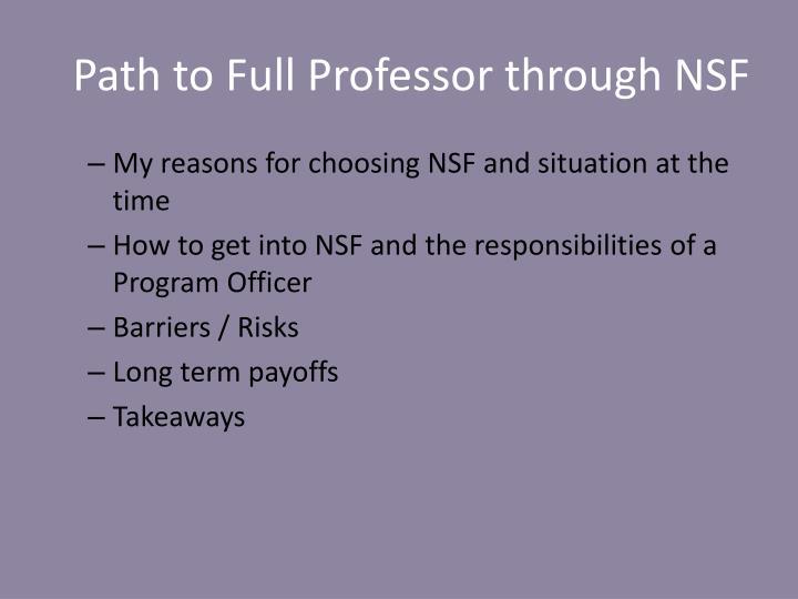 Path to Full Professor through NSF