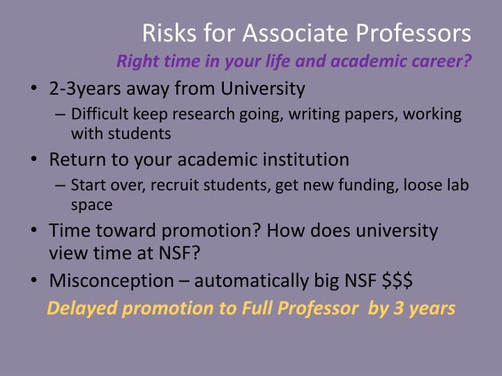 Risks for Associate Professors
