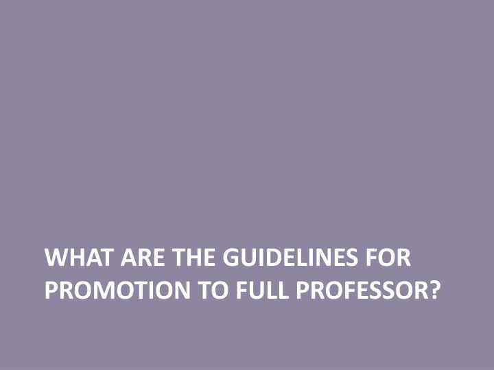 What are the guidelines for promotion to full professor