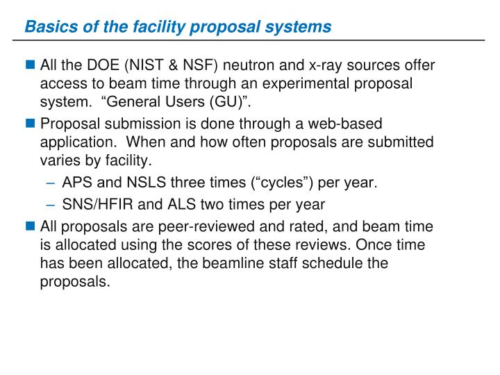 Basics of the facility proposal systems
