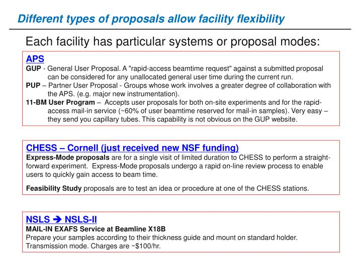 Different types of proposals allow facility flexibility