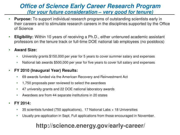 Office of Science Early Career Research