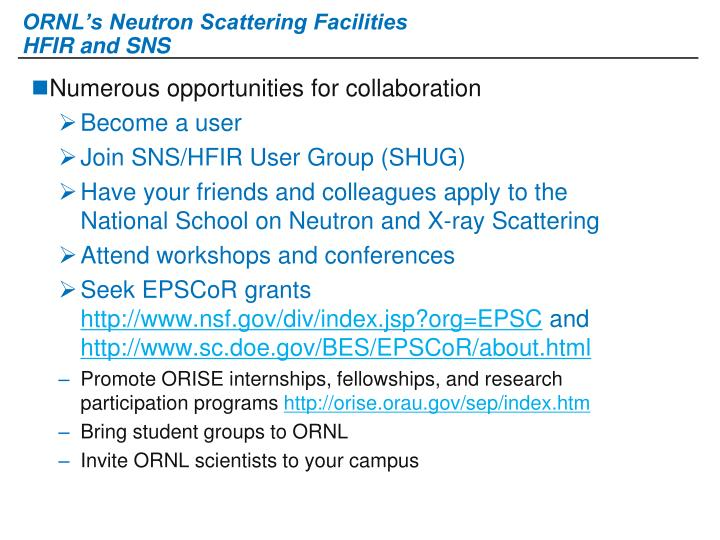ORNL's Neutron Scattering Facilities