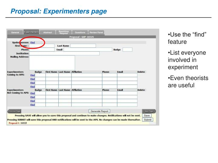 Proposal: Experimenters page