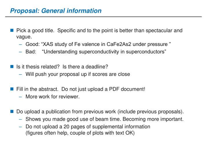 Proposal: General information