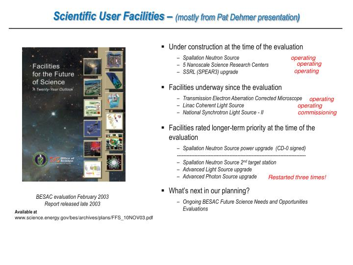 Scientific User Facilities –