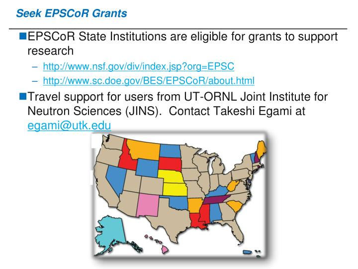Seek EPSCoR Grants