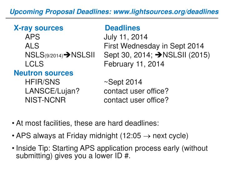 Upcoming Proposal Deadlines:
