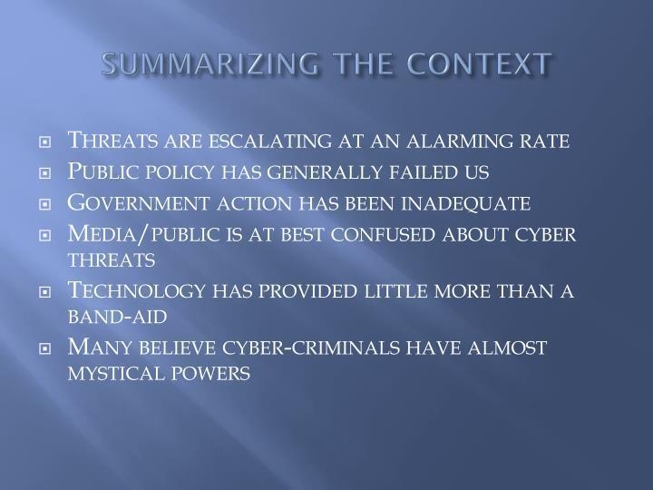 summarizing the context