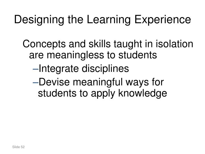 Designing the Learning Experience