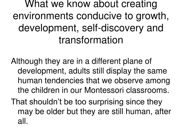 What we know about creating environments conducive to growth, development, self-discovery and transformation