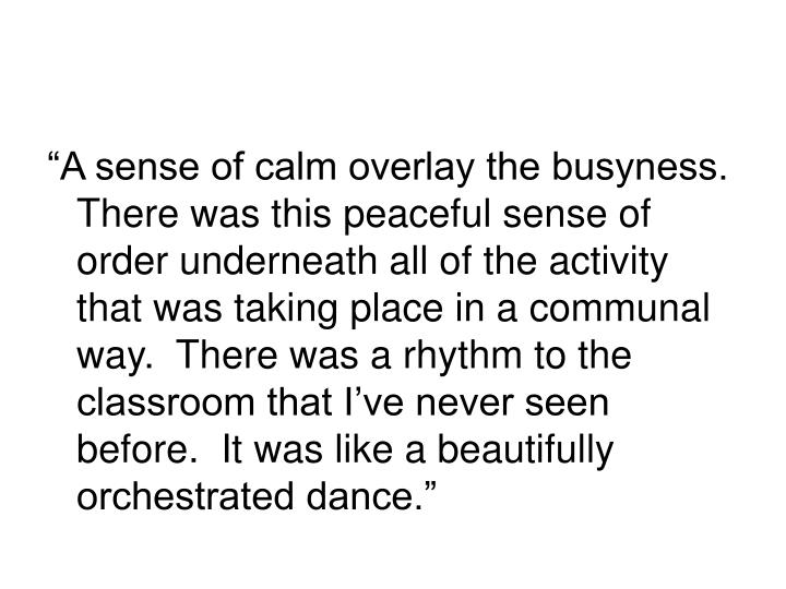"""A sense of calm overlay the busyness.  There was this peaceful sense of order underneath all of the activity that was taking place in a communal way.  There was a rhythm to the classroom that I've never seen before.  It was like a beautifully orchestrated dance."""