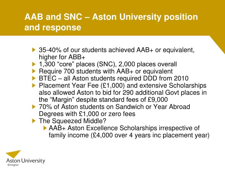 AAB and SNC – Aston University position and response