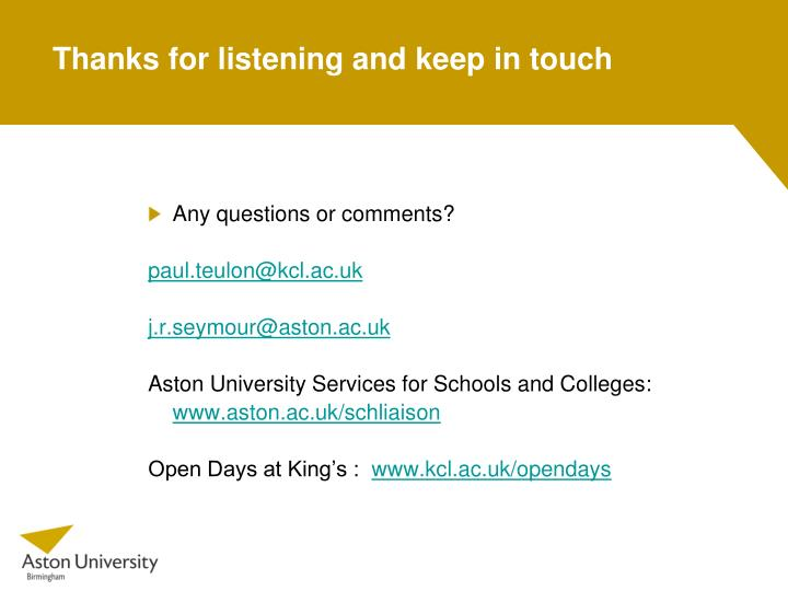 Thanks for listening and keep in touch