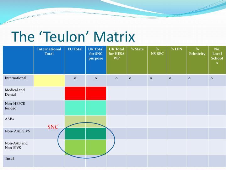 The 'Teulon' Matrix