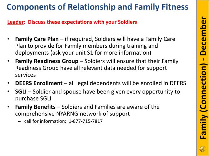 Components of Relationship and Family Fitness