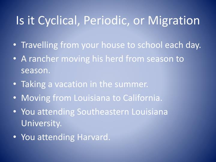 Is it Cyclical, Periodic, or Migration