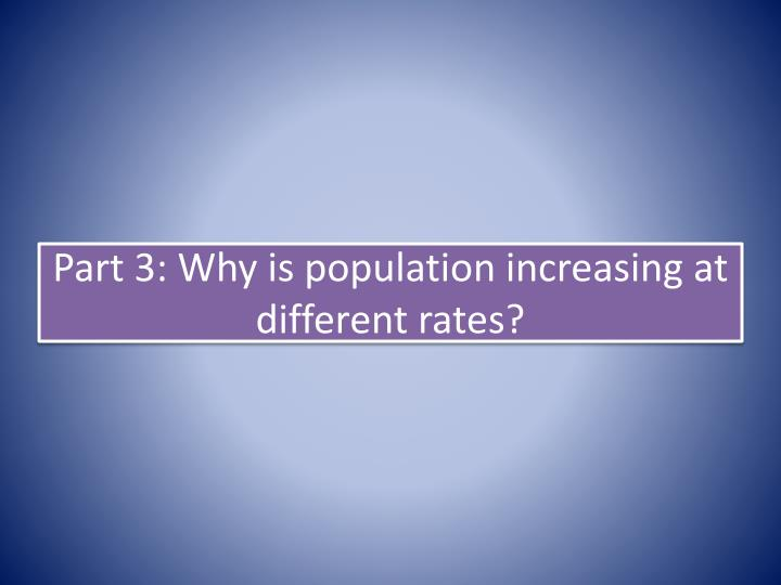 Part 3: Why is population increasing at different rates?