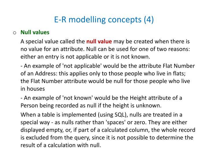 E-R modelling concepts (4)