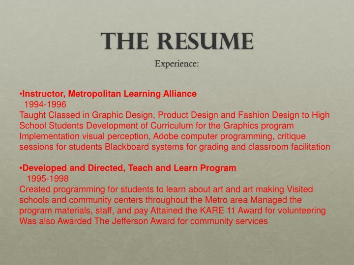 Instructor, Metropolitan Learning Alliance