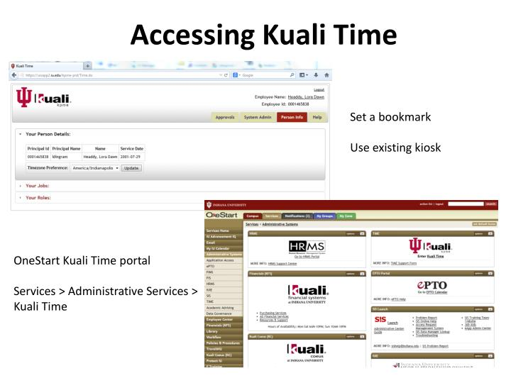 Accessing kuali time