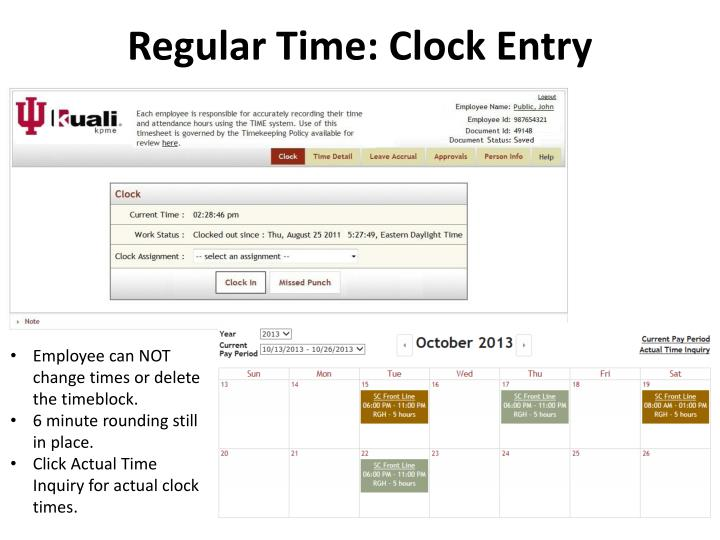 Regular Time: Clock Entry