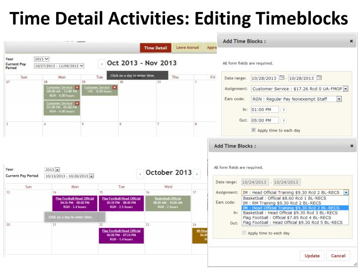 Time Detail Activities: Editing Timeblocks