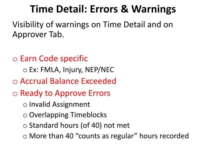 Time Detail: Errors & Warnings