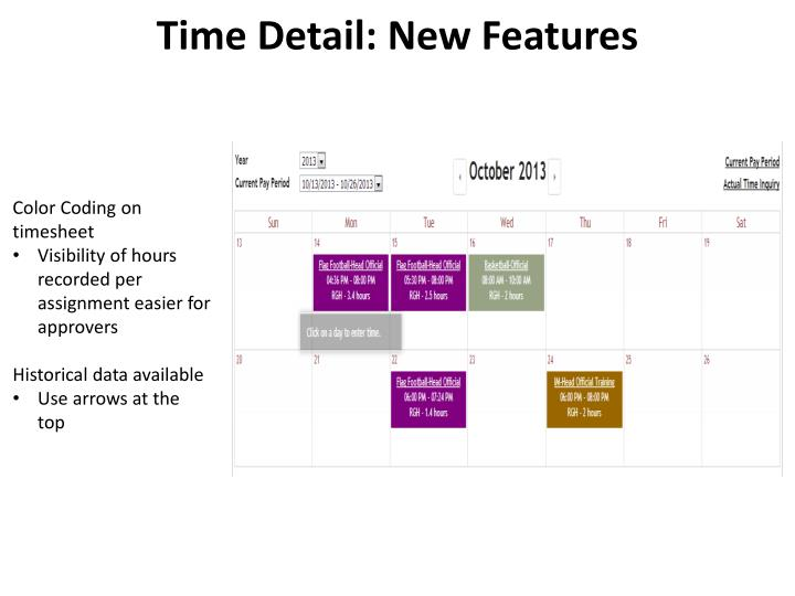 Time Detail: New Features