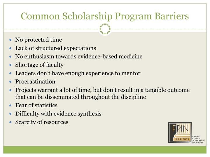 Common Scholarship Program Barriers