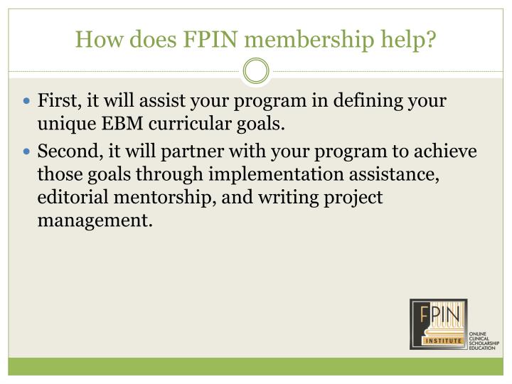 How does FPIN membership help?