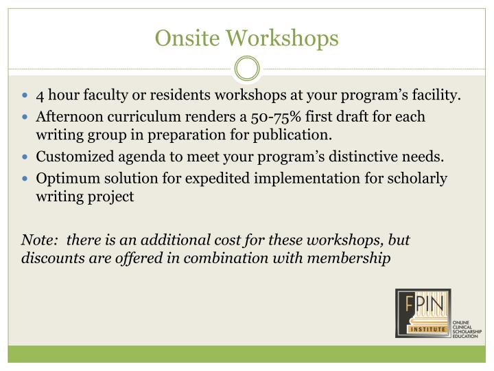 Onsite Workshops