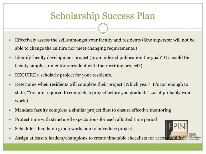 Scholarship Success Plan
